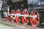 Pair Of Wheels, Wheels Of Old Steam Locomotives. A Pair Of Wheels. Retro Steam Locomotives. Vintage. poster