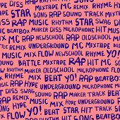 Seamless Pattern With Words On The Rapper Theme. Words Rap, Music, Beat, Battle, Hit, Underground, M poster