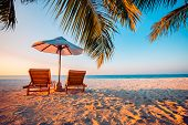 Amazing Scenery, Relaxing Beach, Tropical Landscape Background. Summer Vacation Travel Holiday Desig poster