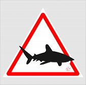 An Warning Sign Isolated On White With Shark Symbol And Words Swim At Own Risk, Use Caution When Swi poster