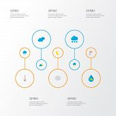 Climate Icons Flat Style Set With Crescent, Hail, Wind And Other Moon Elements. Isolated Vector Illu poster