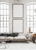 Two Vertical Mock-up Posters In Shabby Interior Background, Scandinavian Style, 3d Illustration poster