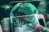 Close Up Of Hands Using Hacked Device On Blurry Background With Globe. Attack And Computing Concept. poster