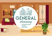 General Cleaning Apartment Concept. Dry Cleaning. Cleaning Business. Room Interior Background. Adver poster