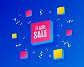 Flash Sale. Special Offer Price Sign. Advertising Discounts Symbol. Isometric Cubes With Geometric S poster