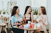 Gift And Happy Time. Drinking Tea And Good Mood. Charming. Happiness With Friends. Beautiful Flowers poster