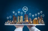 Hand Holding Digital Tablet With Modern Buildings Hologram And Technology Icons. Smart City, 5g, Int poster
