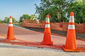 bike trail closure for construction - Poudre trail in northern Colorado poster