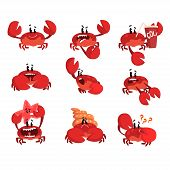 Crab Character With Different Emotions, Cute Sea Creature With Funny Face Vector Illustration On A W poster