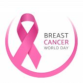 Breast Cancer World Day. Awareness Pink Silk Ribbon Of Woman Breast Cancer. Medical Campaign Vector  poster