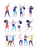 People On Birthday Party. Cartoon Men Women Sing, Dance Play Guitar, Clink Glasses. Friends Celebrat poster