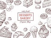 Sketch Dessert Background. Sweet Cake Delicious Pie Croissant And Muffin. Hand Drawn Bakery Menu Vec poster