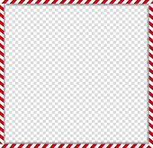 Christmas, New Year Square Cane Photo Frame With Red And White Striped Lollipop Candy Pattern Isolat poster