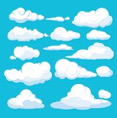 Cartoon Clouds. Blue Sky Aerial Cloudscape Blue Clouds Different Forms And Shapes Vector Illustratio poster