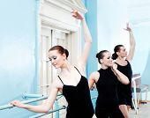stock photo of ballet-dancer  - ballet dancers in rehearsal - JPG