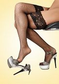 Female legs in black fishnet stockings and high heels, against yellow background