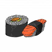 Roll And Sushi Icon. Vector Japanese Food Sushi Roll. Hand Drawn Set Sushi. poster