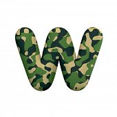 Army letter W - Lower-case 3d Camo font isolated on white background. This alphabet is perfect for c poster
