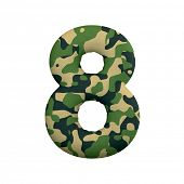 Army number 8 - 3d Camo digit isolated on white background. This alphabet is perfect for creative il poster