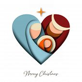 Merry Christmas 3d Paper Cut Greeting Card With Religious Illustration Of Holy Family: Mary, Joseph  poster