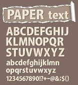 Paper vector font. Letters, numbers and orthographic symbols.