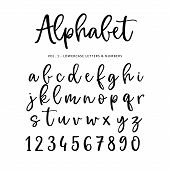 Hand Drawn Vector Alphabet, Font. Isolated Letters And Numbers Written With Marker Or Ink. Brush Scr poster