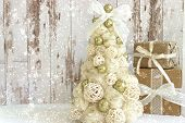 New Year, Christmas Card.new Year, Christmas Background, Rustic Style. Festive Christmas Tree In Gol poster