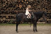 Girls Ride On Horse On Summer Day. Equine Therapy, Recreation Concept. Sport, Activity, Entertainmen poster