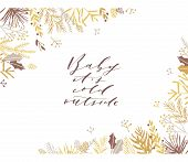 Elegant Stylish Christmas Greeting Card Design. Minimalist Vector Hand Drawn Holiday Postcard, Delic poster