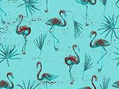Large Hipster Flamingo Blue Hawaiian Seamless Pattern. Summer Tropical Birds Watercolor Endless Prin poster