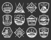 Fishing Icons Of Fisher Camp And Fish Sport Catch. Vector Isolated Fisherman Adventure Badges Of Hoo poster