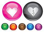 Iconos de vector con muestra de corazón, vacío botón incluido