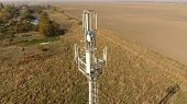 Cellular Tower. Equipment For Relaying Cellular And Mobile Signal. Cellular Tower. poster