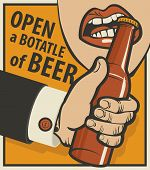 Beer Banner With A Mans Hand With A Bottle poster