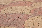 stock photo of semi-circle  - Brick pavers used in an interesting  - JPG