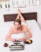 Pleasant Occupation. Morning Inspiration. Man Writer Lay Bed Bedclothes Working Book. Writer Romanti poster