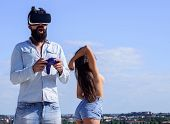 Gamer Addicted Play Cyber Reality. Cyber Addiction Concept. Guy Play Sex Cyber Game. Man Bearded Hip poster