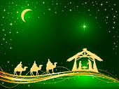 Christian Christmas Theme. Birth Of Jesus, Shining Star And Three Wise Men On Green Background, Illu poster