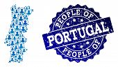 People Composition Of Blue Population Map Of Portugal And Scratched Stamp. Vector Seal With Scratche poster