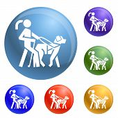 Blind Girl Dog Guide Icons Set Vector 6 Color Isolated On White Background poster