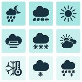 Climate Icons Set With Cold, Drizzle, Light Snow Shower And Other Hail Elements. Isolated Vector Ill poster
