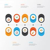 Audio Icons Flat Style Set With Archive, Philharmonic, Samba And Other Audio Elements. Isolated  Ill poster