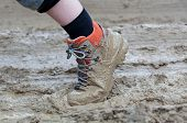 Walking through thick messy mud