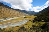 New Zealand Mountains - Valley In Mount Aspiring National Park. poster