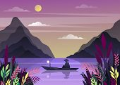 Fisherman At Lake At Dawn Or Dusk. Morning Or Evening, Twilight Nature Landscape With Mountains And  poster