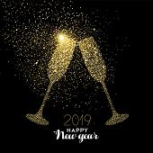 Happy New Year 2019 Gold Champagne Glass Celebration Toast Made Of Realistic Golden Glitter Dust. Id poster