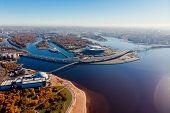 Stadium St. Petersburg. Zenit-arena. Gulf Of Finland. Coastline. Clear Autumn Day. Blue Sky. Pedestr poster