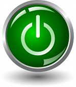 Green glowing power on or off button