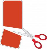 Scissors cutting red price tag, in half