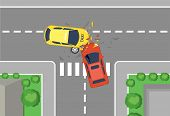Vector Illustration Of Car Crash Road Accident, Top View. Flat Cartoon Style Car Crash Concept, Yell poster